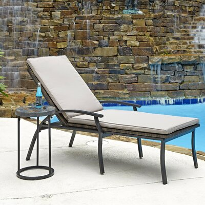 Laguna 2 Piece Chaise Lounge and Table Set with Cushions by Home Styles