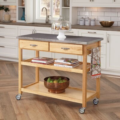 Kitchen Island with Stainless Steel Top by Home Styles