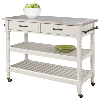 Savannah Kitchen Island with Stainless Steel Top Product Photo