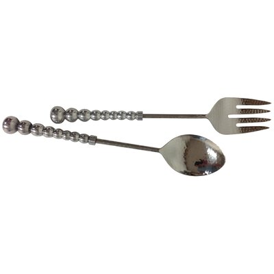 2 Piece Beaded and Hammered Serving Set by Kindwer