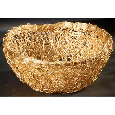 Gilded Round Twist Wire Mesh Basket by Kindwer