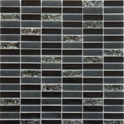 Jayda Series Mixed Crackled Glass Mosaic in Black by Faber