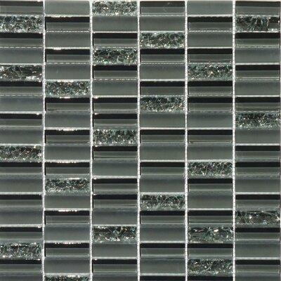 Jayda Series Mixed Crackled Glass Mosaic in Smoke by Faber