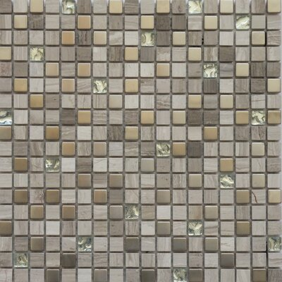 """Faber Fusion Series 5/8"""" x 5/8"""" Mixed Metal Glass Marble Mosaic in Multi"""