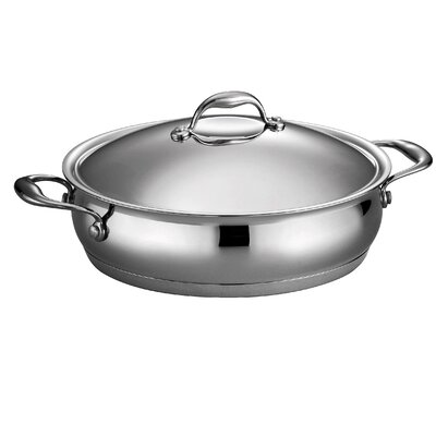 Gourmet Domus 5 Qt. Stainless Steel Oval Braiser with Lid by Tramontina