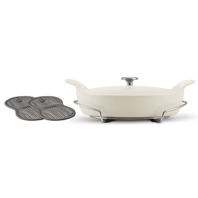 Enameled Cast Iron Series 1200 3.5 Qt. Cast Iron Oval Braiser with Lid by Tramontina ...
