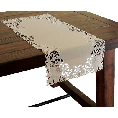 Scrolling Rose Embroidered Cutwork Table Runner by Xia Home Fashions