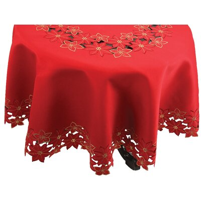 Festive Poinsettia Embroidered Cutwork Christmas Table Cloth by Xia Home Fashions