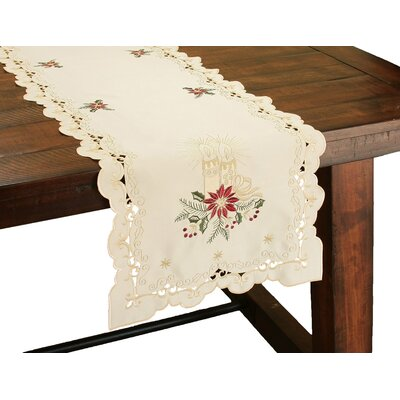 Golden Glow Embroidered Cutwork Christmas Table Runner by Xia Home Fashions