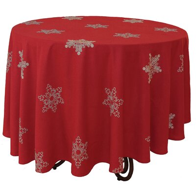 Snowy Noel Embroidered Snowflake Christmas Round Tablecloth by Xia Home Fashions
