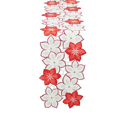 Candy Cane Poinsettia Embroidered Cutwork Holiday Table Runner by Xia Home Fashions