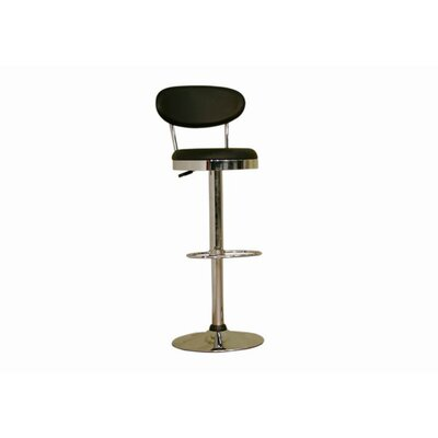 Chardonnay Mid - Back Adjustable Height Barstool in Black by Wholesale Interiors