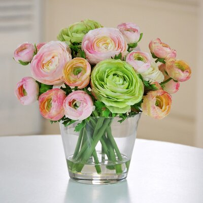 Jane Seymour Botanicals Ranunculus in Glass Vase