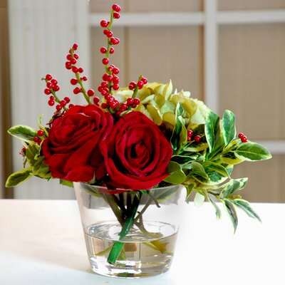 Holiday Rose Hydrangea Glass Vase by Jane Seymour Botanicals