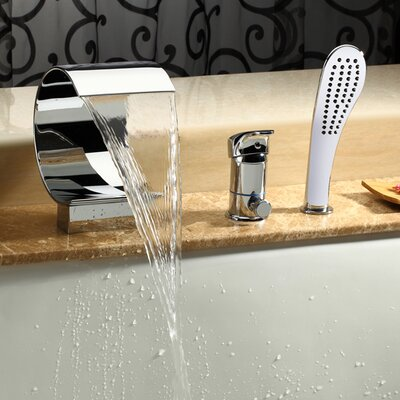 Single Handle Deck Mount Tub Faucet with Hand Shower Product Photo