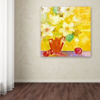 """Trademark Fine Art """"Red Vase With Apples"""" by Sheila Golden Painting Print on Wrapped Canvas"""