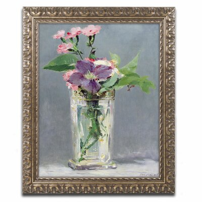 'Pinks and Clemantis' by Edouard Manet Framed by Trademark Art
