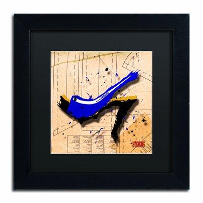 'Suede Heel Blue' by Roderick Stevens Framed Graphic Art by Trademark Art