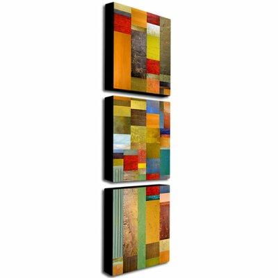 "Trademark Fine Art ""Color Panels Olive Stripes"" by Michelle Calkins Painting Print 3 Panel Art Set"