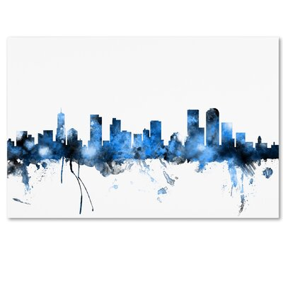 Denver Colorado Skyline by Michael Tompsett Graphic Art on Wrapped Canvas by Trademark Art