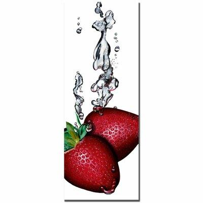 "Trademark Fine Art ""Strawberry Splash II"" by Roderick Stevens Photographic Print on Wrapped Canvas"
