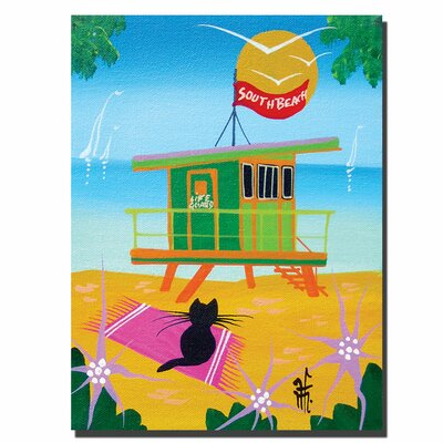 """Trademark Fine Art """"Life Guard"""" by Herbet Hofer Painting Print on Wrapped Canvas"""