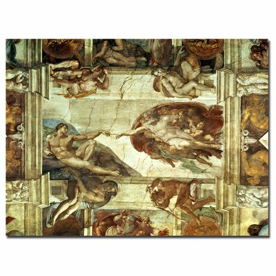 """Trademark Fine Art """"The Creation of Adam"""" by Michelangelo Painting Print on Canvas"""
