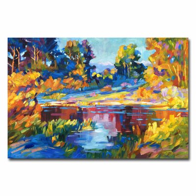Trademark Fine Art 'Reflections on a Quiet Lake' by David Lloyd Glover Painting Print on Canvas