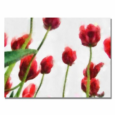 'Red Tulips from Bottom Up II' by Michelle Calkins Painting Print on Canvas by Trademark ...