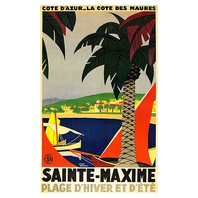 "Trademark Fine Art ""Sainte Maxime"" by Roger Broders Vintage Advertisement on Canvas"