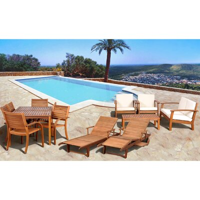 Amazonia 13 Piece Eucalyptus Lounge Seating Group with Cushions by International Home Miami