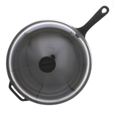 11-inch French Enameled Cast Iron Fry pan with Glass Lid by Chasseur
