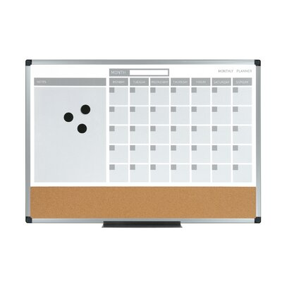 Mastervision 3-In-1 Calendar Magnetic Wall Mounted Bulletin Board, 2' x 2'