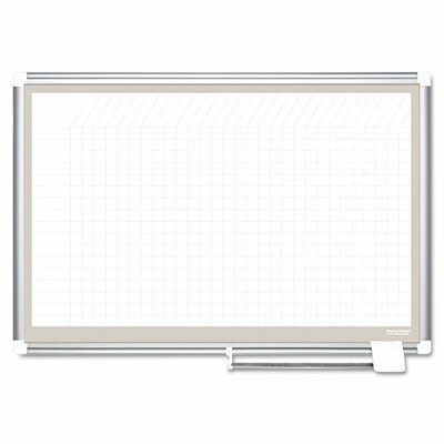Mastervision All Purpose Porcelain Grid Planner Wall Mounted Whiteboard