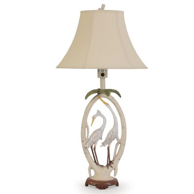 """Island Way Outdoor Double Egret 35.5"""" H Table Lamp with Bell Shade"""