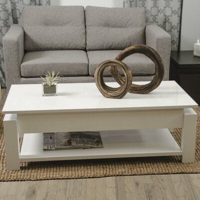 Kayla White Lacquer Lift-Top Rectangular Coffee Table by Matrix