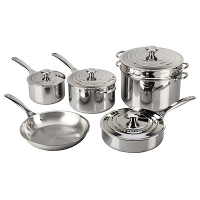 Stainless Steel 10 Piece Cookware Set by Le Creuset