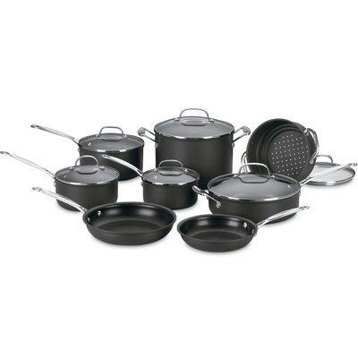 Chef's Classic Nonstick Hard-Anodized 14 Piece Cookware Set by Cuisinart