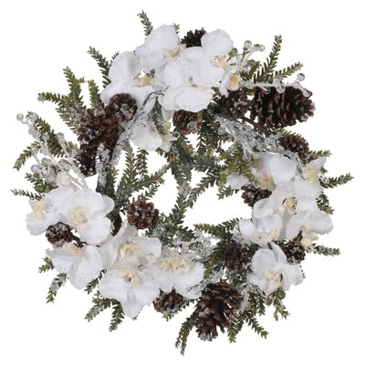 House of Silk Flowers Inc. Artificial Iced Phalaenopsis Orchid / Pine Wreath