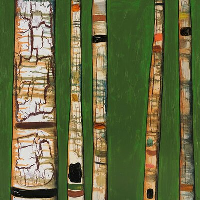 Birch Trunks by Eli Halpin Painting Print on Wrapped Canvas in Green by GreenBox Art ...