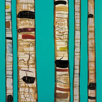 Birch Trunks by Eli Halpin Painting Print on Wrapped Canvas in Sky Blue by GreenBox ...