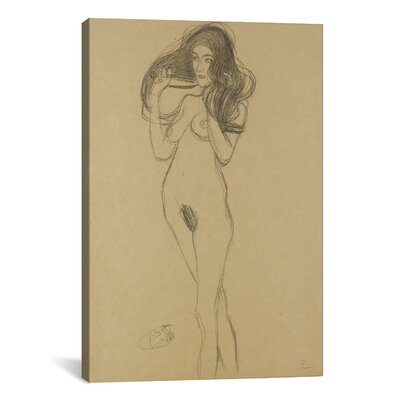 iCanvas 'Standing Female Nude Facing Left, Holding Her Hair' by Gustav Klimt Graphic Art on Canvas