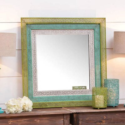 Pierced Metal Square Wall Mirror by Cape Craftsmen