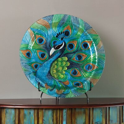 Round Hand Painted Embossed Glass Peacock Platter by Cape Craftsmen