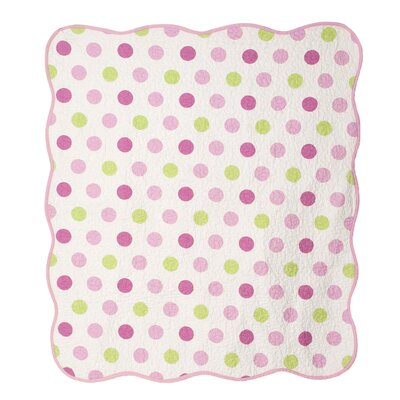 Audrey Pink Polka Dot Crib Coverlet by CoCaLo