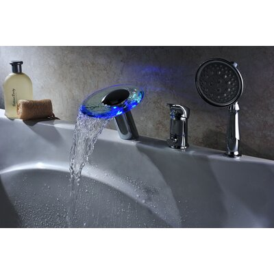 Single Handle Deck Mount Tub Faucet Set with Handheld Sprayer Product Photo