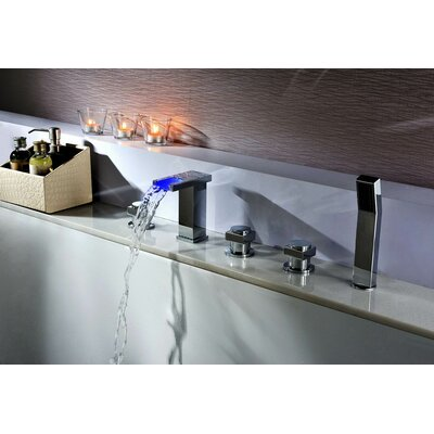 Deck Mount Tub Faucet Set with Handheld Sprayer Product Photo