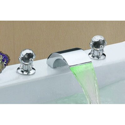 Double Handle Widespread LED Waterfall Bathroom Sink Faucet Product Photo