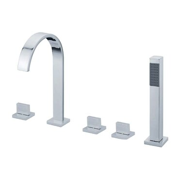Triple Handle Deck Mount Tub Faucet with Handshower Product Photo