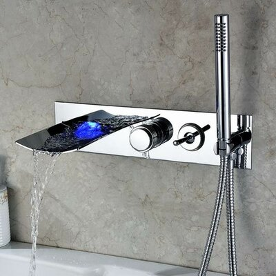 Double Handle Wall Mount LED Waterfall Tub Faucet with Handshower Product Photo